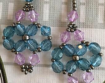 Light purple and blue dangle earrings