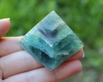 Medium Sized Rainbow Fluorite Pyramid