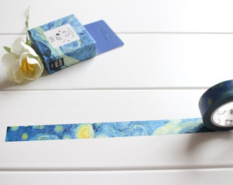 Starry Night Washi Tape, Sky Washi Tape, Blue Washi Tape, Universe Galaxy Washi Tape, Star Moon Washi, Decorative Tape  (NT-106)