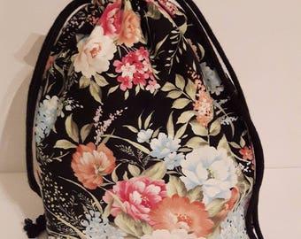Grandmas Garden Project Bag, Knitting Bag, Drawstring Bag, Crochet bag, Makeup Bag, Cotton Bag, Toiletry Bag, Art Supply bag, Craft bag,
