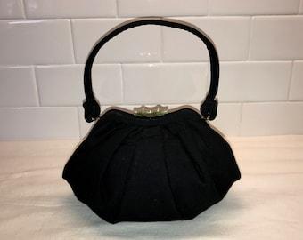 Vintage Black Wool Evening Bag Pouchette
