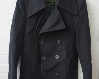 Vintage 1960s Men's Black Pea Coat UK 36-38
