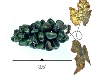 Decorative Green Agate Grape Cluster w/ Leaves of Tin coated in Patina Finish from Napa Vinyard Giftshop