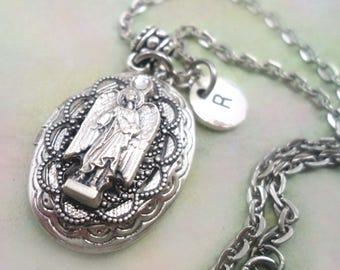 Archangel Raphael Locket w-Swarovski Crystal, Healing Gift, Custom Letter Charm, Raphael Healing Amulet, Italian Pewter Holy Metal, Heal Me