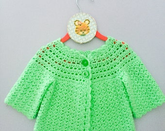 Vintage HandKnit Baby Cardigan Sweater, Green Baby Sweater, Vintage Child Sweater, 3-6 months Baby Sweater, Green Handmade Baby Sweater