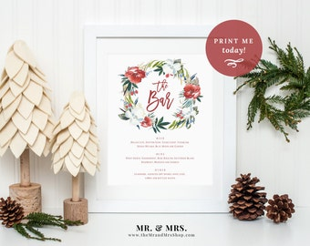 Editable Holiday Bar Menu Template, Christmas Winter Drinks Menu Sign, PDF Template Instant Download, Festive, Wreath, Flower, MAM111_02