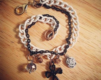 Black and White Cross Charm Bracelet