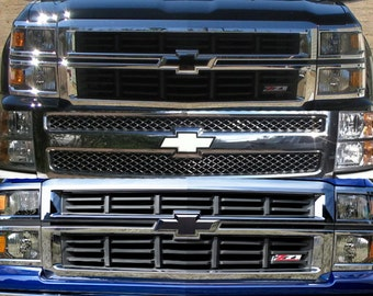 Truck Emblem Wrap Kit - Chevy Badge Black White Carbon Fiber