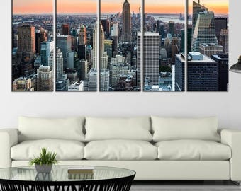 Large Wall Art NEW YORK Canvas Prints - New York City Skyscrapers, Empire State Building in Middle