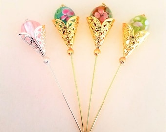 Flower Bud Stick Pin/Hat Pin/Hijab Pin
