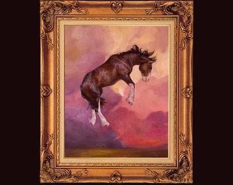 Horse sky PRINT on watercolor paper Artwork clydesdale painting beautiful horse for living room bedroom equine present gift for horse lover