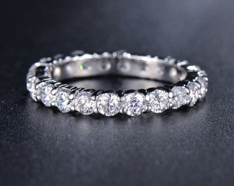 Eternity Ring, Round Cubic Zirconia Ring, Promise Ring, Wedding Band Ring, Eternity Band, Stackable CZ Ring, Stacking Ring, Ring Jewelry Diy