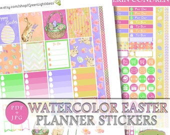 Watercolor Easter Printable Sticker, Easter Erin Condren Stickers, Easter Planner Sticker, April Planner Weekly Sticker Kit, March ECLP Kit