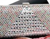 Luxury Evening Bag Silver  Multi Coloured Crystal Bridal Wedding Clutch BAG55