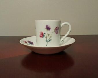 Vintage Limoges Demitasse Teacup and Saucer Pink and Violet Floral Vintage Tea Party, A. Giraud Signed Limoges 1940's French