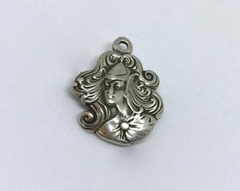 Vintage Art Nouveau Sterling Silver Lady Face Pendant