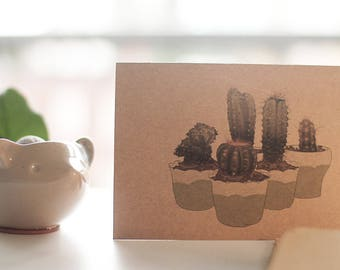 home decor cactus succulents card, sustainable thank you card, eco friendly print card, rustic cactus greeting card, cactus gift card