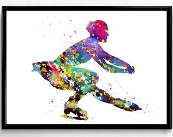 Ice Skating Girl, Figure Skating, Colorful Watercolor,Poster, Room Decor, gift, printable wall art (724)