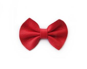 Red Leather Girl Hair Bow | Nylon Headband or Hair Clip