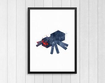 Minecraft Spider, Cave Spider, Minecraft creature, Minecraft monsters, Watercolor Print