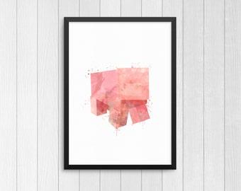 Minecraft Pig, Minecraft Animal, Minecraft creature, Kids Print, Watercolor Print, Nursery print