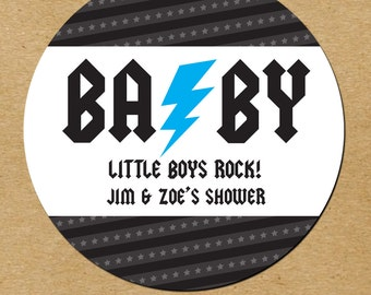 Baby Boy Baby Shower Stickers, Rockstar Shower Favor Stickers, Custom Baby Shower Favor Stickers