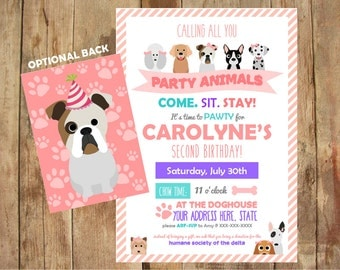 Puppy Party Invitations - Come Sit Stay - Personalized Printable