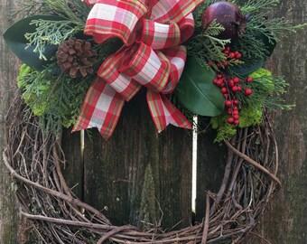 Magnolia Wreath-Front Door Wreath-Seasonal Decor-Winter Wreath-Grapevine Wreath-Country Wreath-Shabby Chic Wreath-Winter Door Decor-Moss