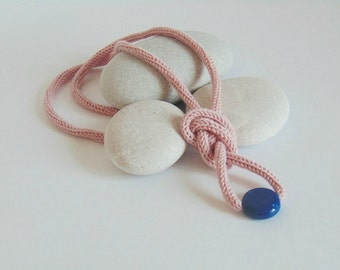long yarn necklace, yarn jewelry, powder pink, rose quartz color, knitted necklace,  knitted jewelry, cotton jewelry, porcelain jewelry,pink