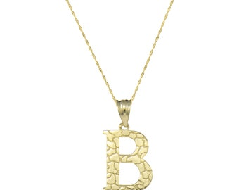 10K Solid Yellow Gold Nugget Initial Letter Pendant Singapore Chain Necklace Set - A-Z Any Alphabet Charm