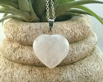 Crystal heart necklace, pink quartz necklace, 925 sterling silver chain, healing crystals and stones jewelry, healing crystal necklace reiki