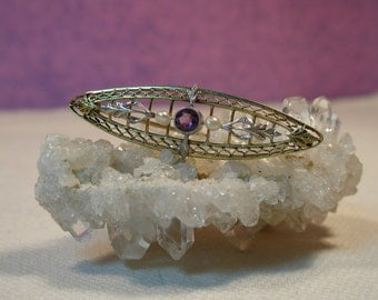 14K Art Nouveau and seed pearl brooch