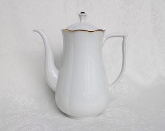 Vohenstrauss Bavaria Germany Coffee/Tea Pot, Simple White Coffee Pot, Johann Seltmann Porcelain Tea Pot, 5 Cups Coffee Pot