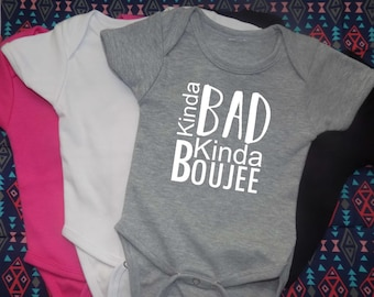 Bad and boujee, bad and boujee onesie, toddler clothes, hip hop onesie, hip hop clothing, baby bodysuit, Migos shirt, bad and bougie