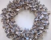 Linen Wreath, Grey and Tan Wreath, Natural Wreath, Linen Rag Wreath, Linen Centerpiece, Modern Farmhouse Decor