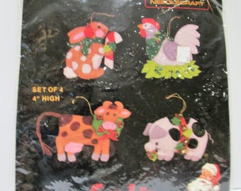Vintage 1984 TITAN DIY Felt Ornament Kit - Set Of 4 Bunny, Chicken, Cow, Pig, Farm Animal Christmas Tree Decorations, New In Sealed Package!