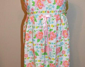 Vintage 1960s Floral Maxi Dress / Nightgown Gossard Deadstock