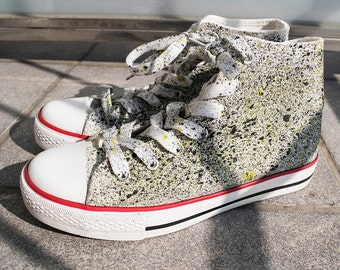 Splatter Converse, Sneakers, high top shoes, high top sneakers, hand painted sneakers, custom sneakers, custom converse, street shoes