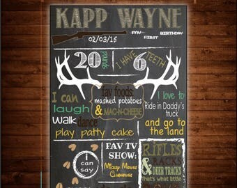 Hunting, Deer Themed Chalkboard Birthday Sign
