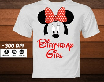 Digital Birthday Girl Minnie Mouse Iron on Transfer Image Minnie Mouse Birthday Shirt Disney Minnie mouse party decoration-INSTANT DOWNLOAD