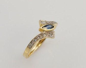 14k Yellow Gold Diamond & Sapphire Ring Size 7