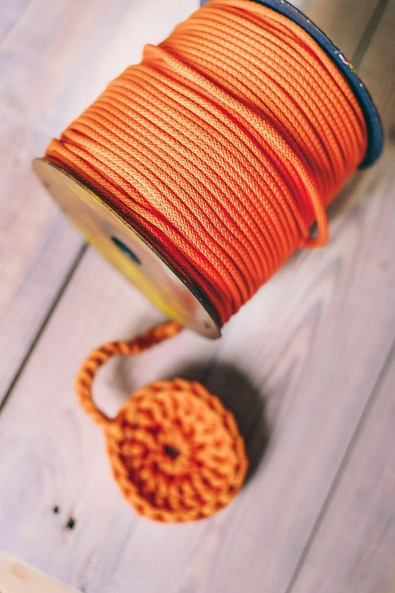 ORANGE yarn- macrame cord- crochet yarn- crochet rope- Craft projects- orange rope- knitting supplies- craft supplies #68 cord 218 yards