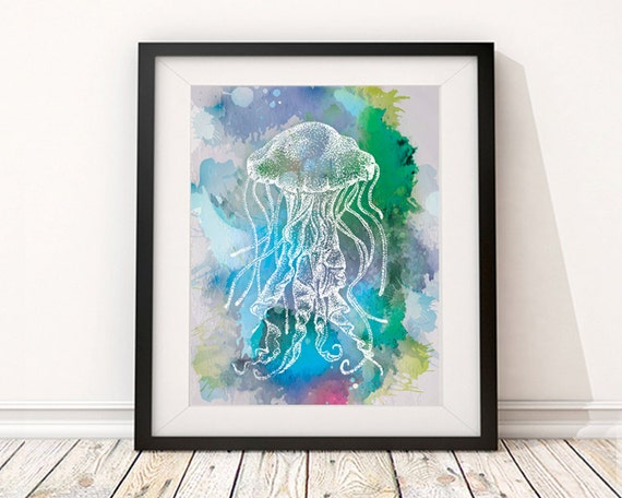 Whimsical Bathroom Wall Decor : Jellyfish art watercolor print bathroom wall decor
