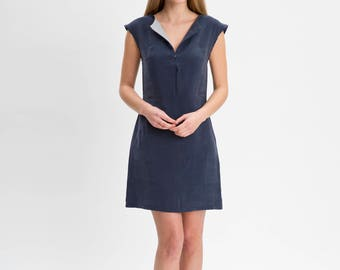 LEAH Navy Shift Dress with Zip front detail