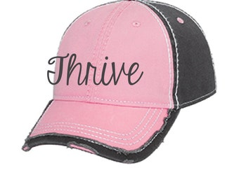 Pink thrive hat, embroidered thrive hat