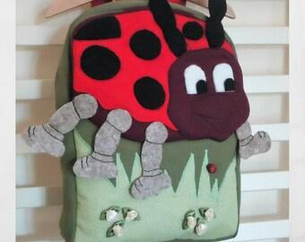 LadyBug Backpack for kids, Animal Backpack, Cotton backpack, Toddler backpack, Kinder backpack, Small kids backpack, Cool baby gift ideas