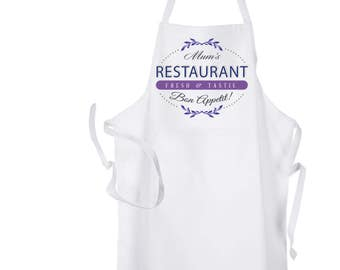 Personalised Ladies White  Restaurant Baking Cooking Kitchen Apron by Inspired Creative Design