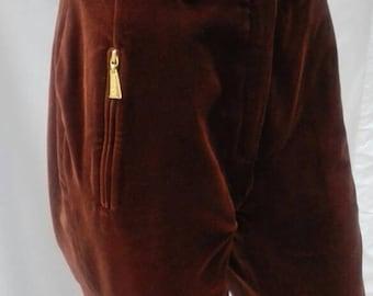 ESCADA MARGARETHA LEY vintage 80s brown velvet pants