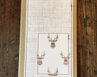 Stitched journal, Deer Head, Antlers, Rustic, Moleskine, Lined Journal