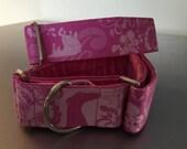 "Pink 1.5"" Greyhound Galgo Martingale Collar"